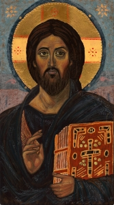 (Photo of an icon I wrote. My teacher points out that the eyes of this Christ both comfort and convict, something for which I am grateful.)