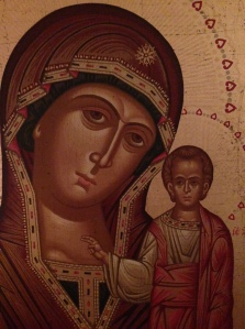 (Photo taken of a Russian icon I brought back from Jerusalem)